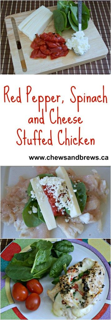Red Pepper, Spinach and Cheese Chicken Rolls ~ www.chewsandbrews.ca