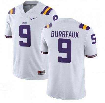 Men's Joe Burreaux #9 LSU Tigers NCAA Football Jersey White