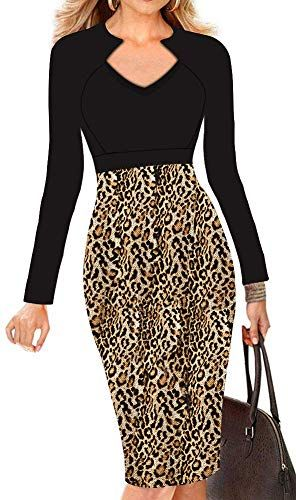 LunaJany Womens Chic V-Neck Casual Every Day Wear to Work Midi Dress