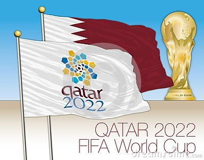 Qatar 2022 World Cup Competition Flag With Qatar Flag And World Cup Illustration Vector With Images World Cup Logo Qatar Flag Flag
