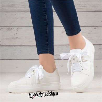Birayd Beyaz Onu Tasli Spor Ayakkabi Ayakkabilar Bayan Ayakkabi Ayakkabi Bot