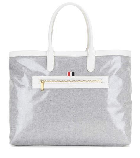 01fce9a3c2 Thom Browne - Coated canvas beach bag - The roomy tote is crafted in light  grey fabric and coated for a high-shine finish. Don't miss out on the luxe  ...