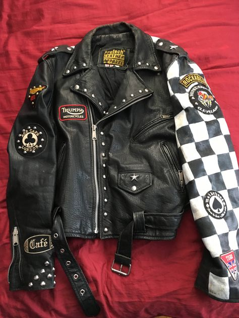 VTG Men's Custom Motorcycle Jacket Rocker Jacket Club 59 Cafe Racer Grunge Outfits, Punk Outfits, Mode Outfits, Cool Jackets For Men, Punk Mode, Punk Jackets, Casual Jackets, Mode Lolita, Battle Jacket