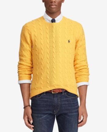 Polo Ralph Lauren Men S Cashmere Wool Blend Cable Knit Sweater Slicker Yellow M Mens Fashion Sweaters Mens Cable Knit Sweater Polo Ralph Lauren