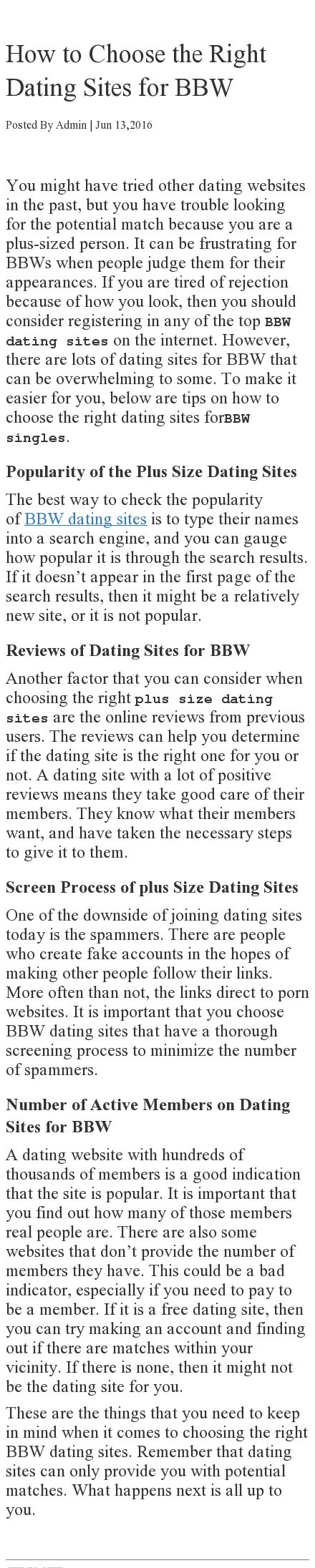 Best websites for plus size dating advice