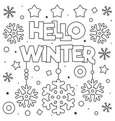 Hello winter coloring page black and white vector  Coloring pages