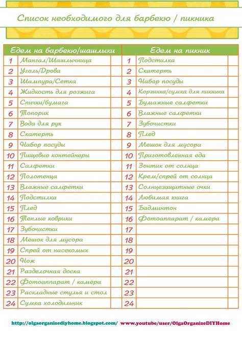 Список необходимых вещей для кухни