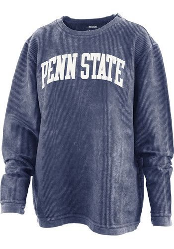 Penn State Nittany Lions Womens Navy Blue Comfy Cord Crew Sweatshirt, Navy Blue, 100% COTTON, Size M