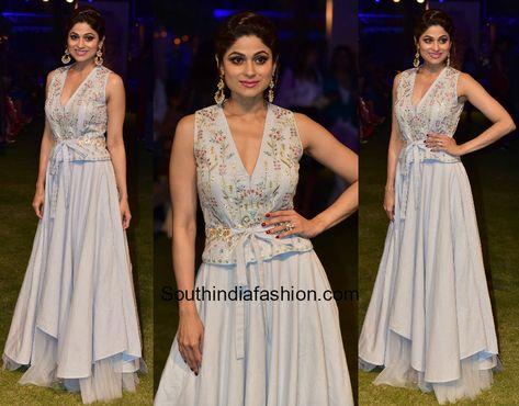 Shamita Shetty was snapped at the Lakme Fashion Week 2018 wearing a powder blue ensemble by Anita Dongre.