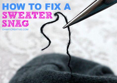 How To Fix A Sweater Snag | OHMY-CREATIVE.COM