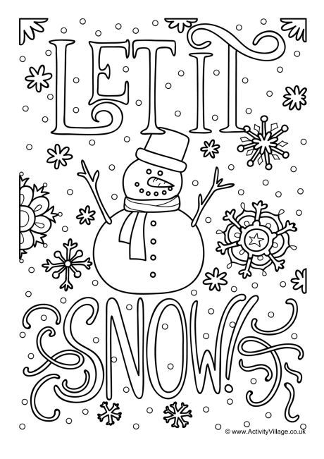Let It Snow Colouring Page Coloring Pages Christmas Coloring