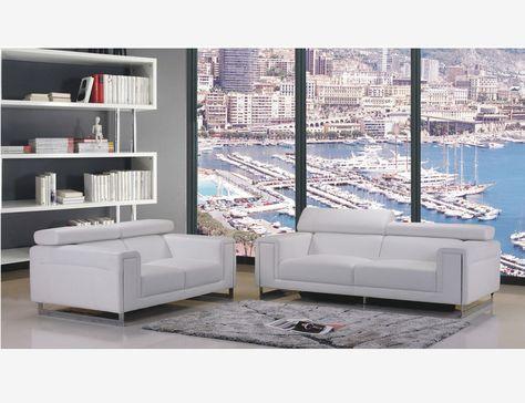 Cream Leather Sofa Couch Loveseat Living Room Set Adjustable Headrest