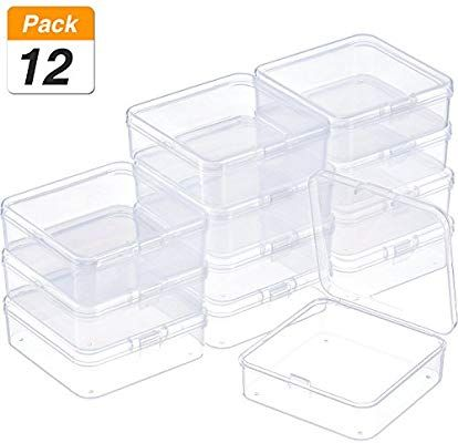 Amazon Com Satinior 12 Pack Small Rectangle Clear Plastic Containers Box With Hinged Lid Clear Plastic Storage Containers Bead Storage Stackable Storage Bins