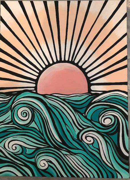 Items similar to Graphic Ocean Painting on Etsy - Aesthetic painting ideas - Aesthetic Aestheticpaintingideas Etsy Graphic Ideas Items ocean Painting similar # Art Inspo, Painting Inspiration, Aesthetic Painting, Aesthetic Art, Aesthetic Outfit, Aesthetic Clothes, Aesthetic Black, Aesthetic Vintage, Aesthetic Drawings
