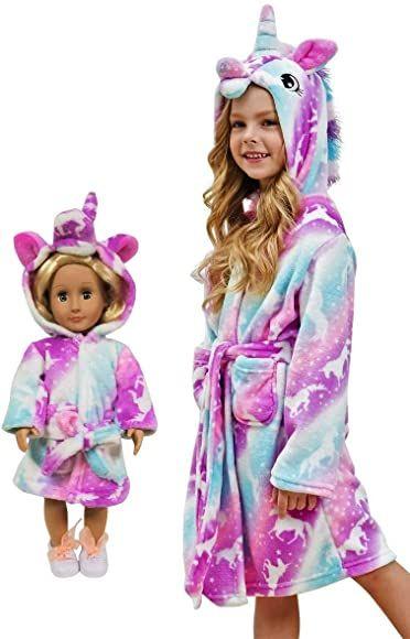 Unicorn Gifts for Girls Unicorn Bathrobe Matching Doll /& Girls