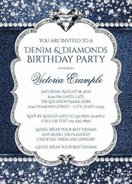 Diamond Invitations Denim And Diamonds Diamond Party