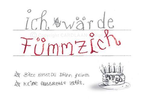 Einladungskarten - Einladung 50. Geburtstag (Fümmzich) - ein Designerstück von CARDLAAN bei DaWanda