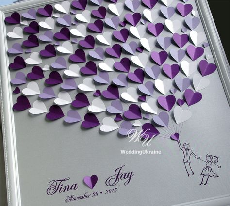 Wedding Guest Book Alternative on Silver background. Personalized with your Names and wedding date, offers a unique way of expressing your love on your special day. White, Lavender and Purple Wedding Tree. Silver, Purple, White and lavenders hearts.  ------------- TO ORDER -------------- Please 1. Select a SIZE and number of hearts from the drop down list. 2. Select a colors of hearts from the drop down list. 3. In the Note to seller box, please note the following: - Two NAMES - DATE of wedd...