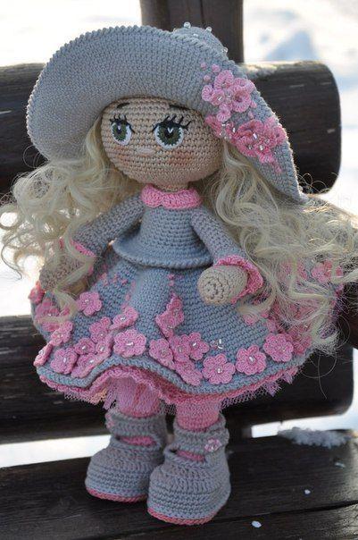 Muñeca adry de ganchillo, vestido púrpura, muñeca Amigurumi ... | 604x401