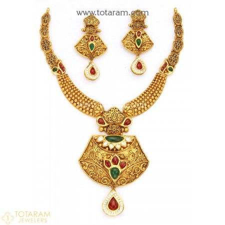 27698dcb08 22K Gold Antique Necklace & Drop Earrings Set with Stones - 235-GS2835 - Buy  this Latest Indian Gold Jewelry Design in 65.700 Grams for a low price of  ...