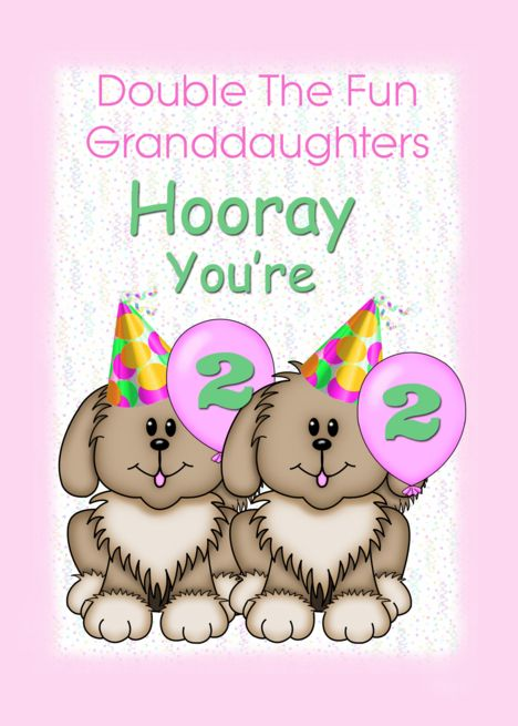 Twin Granddaughters 2nd Birthday Puppies Card Ad Sponsored Granddaughters Twin Birthday Wishes For Twins Twins 1st Birthdays Birthday Cards For Twins