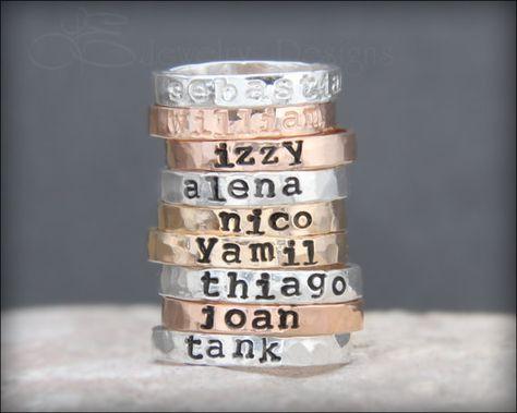 81983d7ee7 Hand Stamped Stacking NAME RING - kids name ring, gold, rose gold, posey