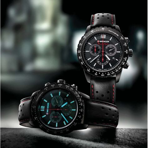 56c4fd3e74b Wenger Roadster Black Night Chrono Mens Swiss Army Watch (Black Leather  Strap Tachymeter bezel)