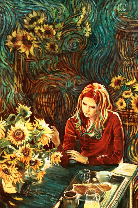 """""""Oh Amy, I hear the song of your sadness.""""""""I'm not sad.""""""""Then why are you crying?"""" Spent many, many hours livestreaming and working on this painting - my tribute and goodbye to the magnificent Amy Pond (and how she inspired the greatest painter that ever lived!) I of course purposely researched Van Gogh works such as Starry Night and Sunflowers and would like to think if Amy stayed for a portrait, Vincent painted something like this. EDIT: This artwork (""""The Song of Your ..."""