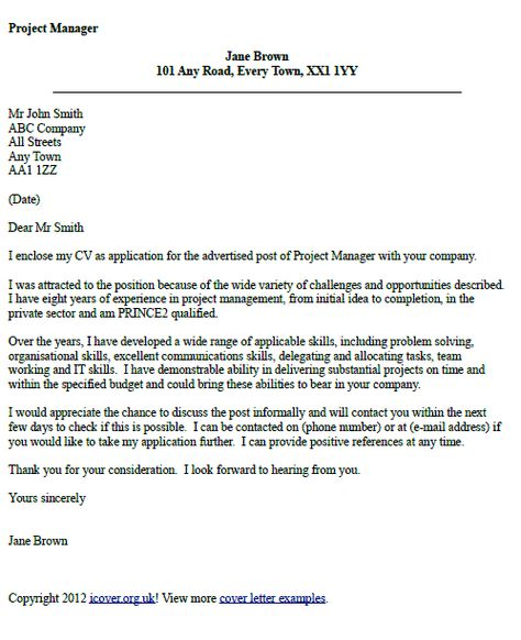 Restaurant Manager Cover Letter It Project Manager Cover Letter Example  Job  Pinterest