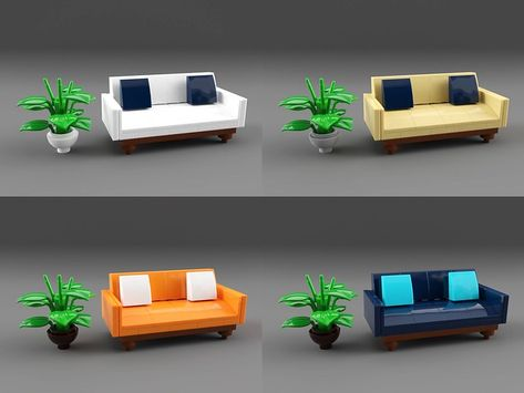 I needed a couch for my next project so I created this one. Legos, Lego Furniture, Minecraft Furniture, Furniture Ideas, Lego Table Ikea, Micro Lego, Lego Sculptures, Lego Activities, Lego Minecraft