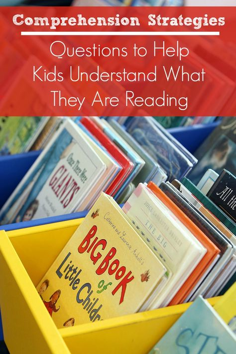 Comprehension Strategies...Questions to Help Kids Understand What They Are Reading. Great list to have handy during homework time and bedtime stories
