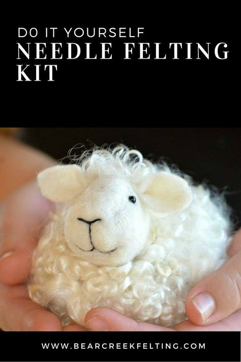 needle felting kit for beginners. Easy DIY sheep needle felting kit that includes everything you need, the perfect wool, supplies and instructions with pictures of every step. Great gift idea and perfect for kids.