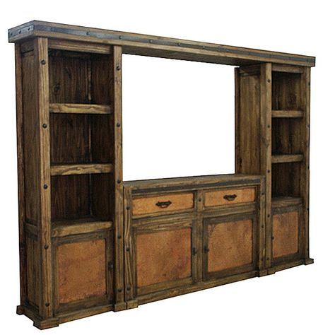 Copper Wall Unit and TV Stand, Entertainment Center, Rustic 4 Piece. If I could just get this to fit around the wall mount tv....