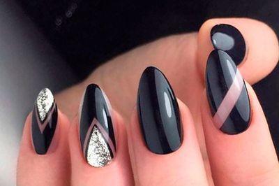 Черный маникюр миндалевидные ногти