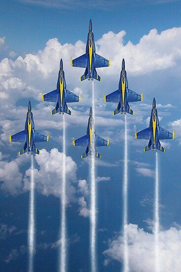"""""""Blue Angels"""" Poster by aviationart Blue Angels Planes, Blue Angels Air Show, Us Navy Blue Angels, Airplane Fighter, Airplane Art, Fighter Aircraft, Jet Fighter Pilot, Fighter Jets, Military Jets"""