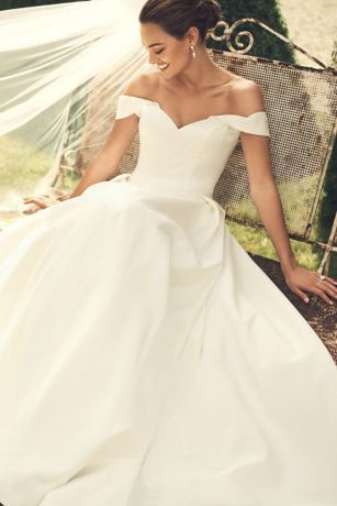 Off The Shoulder Satin Ball Gown Wedding Dress David S Bridal In 2020 Petite Wedding Dress Ball Gowns Wedding Davids Bridal Wedding Dresses