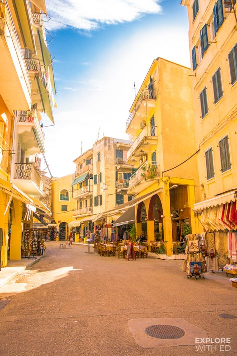Quiet shopping streets in Corfu Town Yellow Aesthetic Pastel, Rainbow Aesthetic, Aesthetic Colors, Aesthetic Collage, Aesthetic Photo, Aesthetic Pictures, Aesthetic Women, Aesthetic Gif, Aesthetic Clothes
