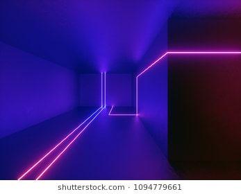3d Render Neon Lights Room Indoor Virtual Reality Glowing