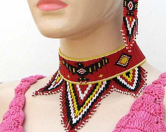 Red Thunderbird Beaded Choker Necklace & Earrings Set, Beaded necklace choker for women, Native american beaded necklace, Thunderbird gift - Care - Skin care , beauty ideas and skin care tips