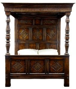 William and Mary style carved oak four poster bed