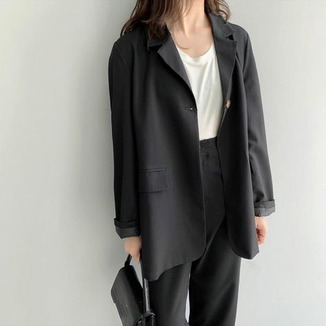 45.91US $ |Fall Korean Style Loose Women  Suit Notched Office Lady Ladies Black Blazers And Pant Suits Elegant Office Sets Blazer Set|Pant Suits|   - AliExpress