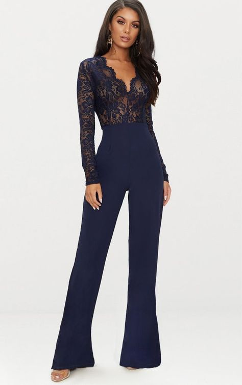 The Navy Lace Long Sleeve Plunge Jumpsuit. Head online and shop this season's range of jumpsuits at PrettyLittleThing. Express delivery available.
