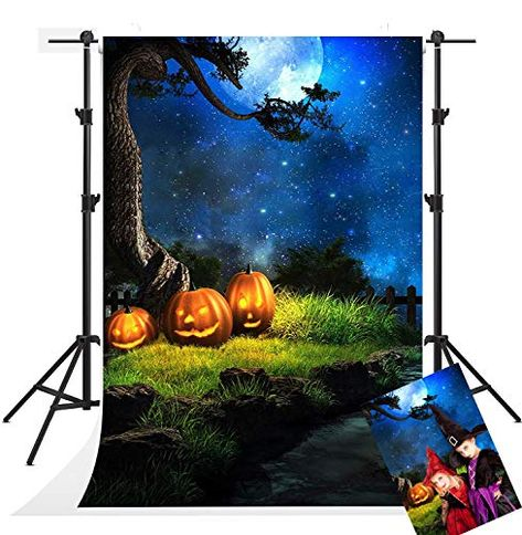 LFEEY 5x3ft Happy Halloween Backdrop for Photography Background Grimace Pumpkin Balloon Background Festival Party Photo Studio Props