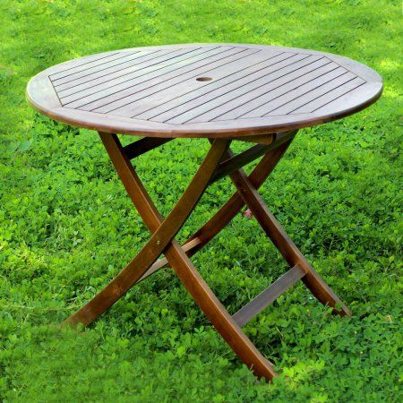 Highland Acacia 38 Inch Round Folding Table With Curved Legs