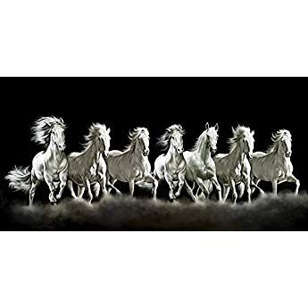 Art Factory Seven Horse Vaastu Canvas Painting Limited Edition Copy Right Protected Horse Canvas Painting White Horse Painting Horse Painting