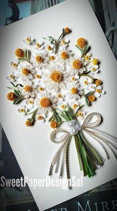 Paper Quilling Art Original Art By Hyunah Yi Daisy Flower Etsy In 2020 Paper Quilling Flowers Paper Quilling Jewelry Paper Quilling Cards