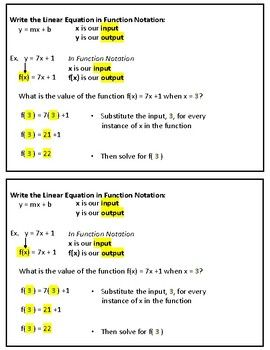 Evaluating Functions In Function Notation Graphic Organizer With