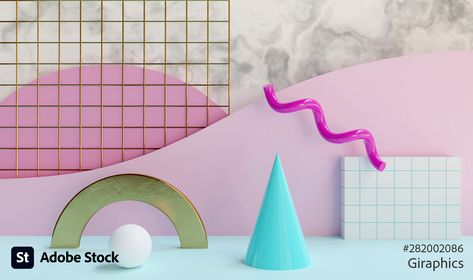 3D rendering of abstract 80s background