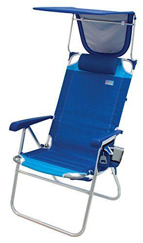 Rio Beach Hi Boy 17 Extended Seat Height Folding Beach Chair With Sun Shade Canopy Cover Rio Gear Beach Chair With Canopy Beach Chairs Folding Beach Chair