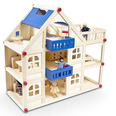 Holz Spielhaus Puppenhaus Set Puppenstube Puppenvilla Spielzeughaus mit Möbeln